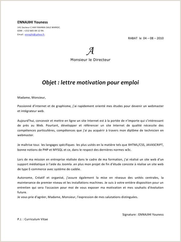 Lettre De Motivation Pour Un Emploi Pdf 45 Exemple De Lettre