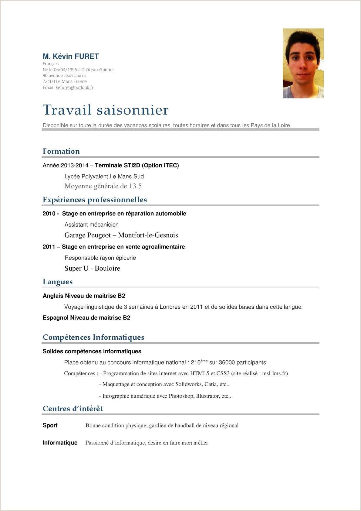 Exemple De Cv Tunisie Pdf Luxe Exemple De Cv D Etudiant