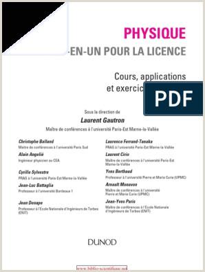 Exemple De Cv Anti Chronologique Pdf Physique tout En Un Pour La Licence Cours Applications Et