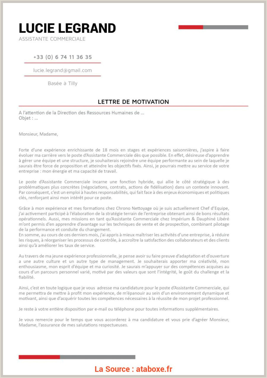 Plus Récent Lettre De Motivation Assistant E Administratif