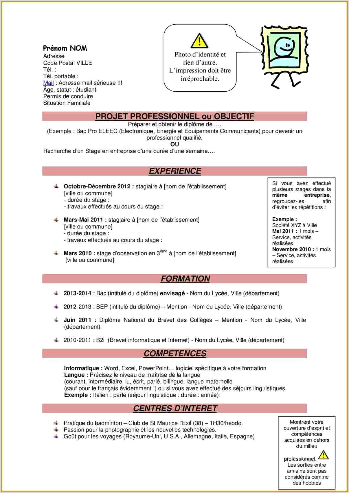 Exemple De Cv Bac Pro Commerce Nouvelle Exemple Lettre De Motivation Stage Bac Pro Merce
