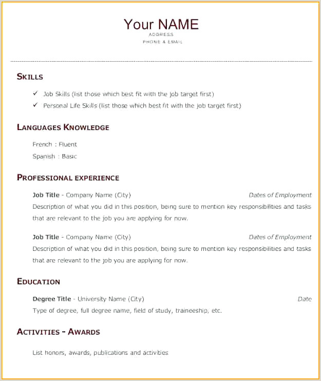 Exemple Cv Francais Simple Luxury Exemple Cv En Anglais