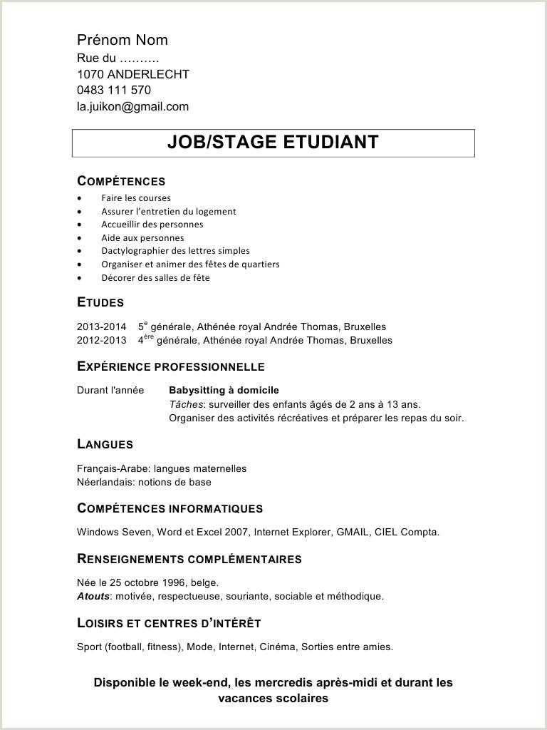 Exemple De Cv De Stage Au Maroc Pdf Cv Stage étudiant Frais Exemple Cv Simple étudiant