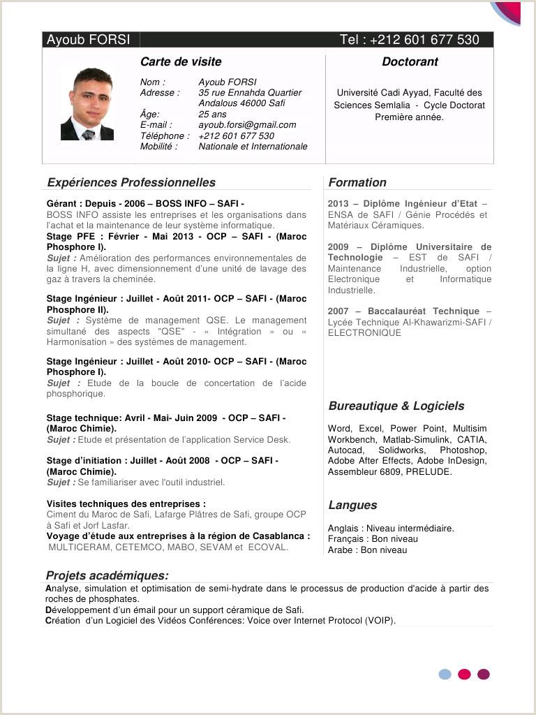 Exemple De Cv De Stage Au Maroc Pdf Ment Faire Un Bon Cv Pdf Exemple Ment Faire Un Cv En 3eme
