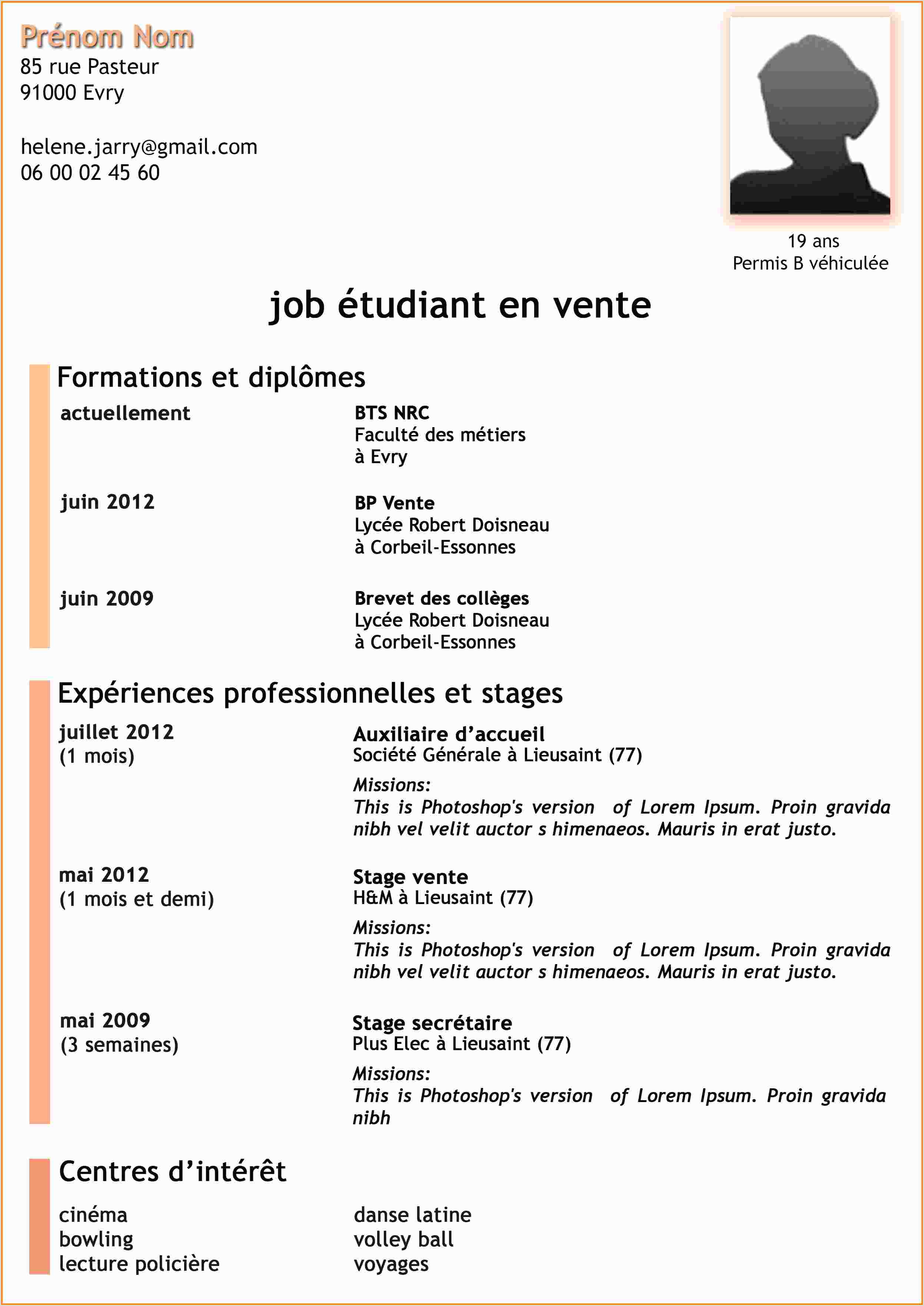 Exemple De Cv De Stage Pdf Cv En Ligne Job D Ete