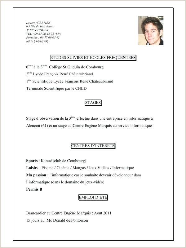 Exemple De Cv De Stage Pdf Cv Lycéen Modele