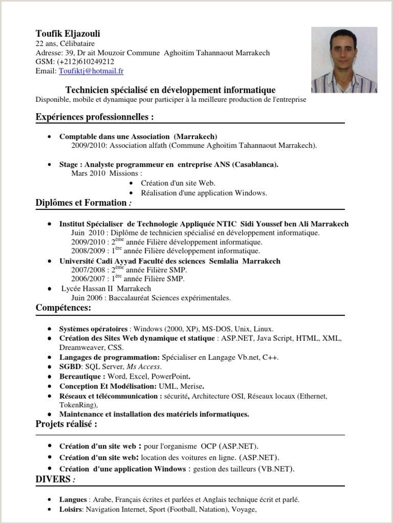 Exemple De Cv Dun Prof Pdf Exemple De Cv Technicien Informatique Nouveau Cv Technicien