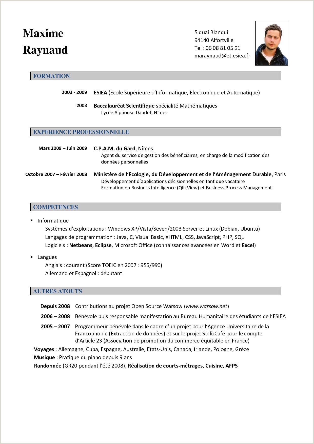 Cv  Remplir Nouveau Exemple De Cv En Anglais Pdf Beau S Cv