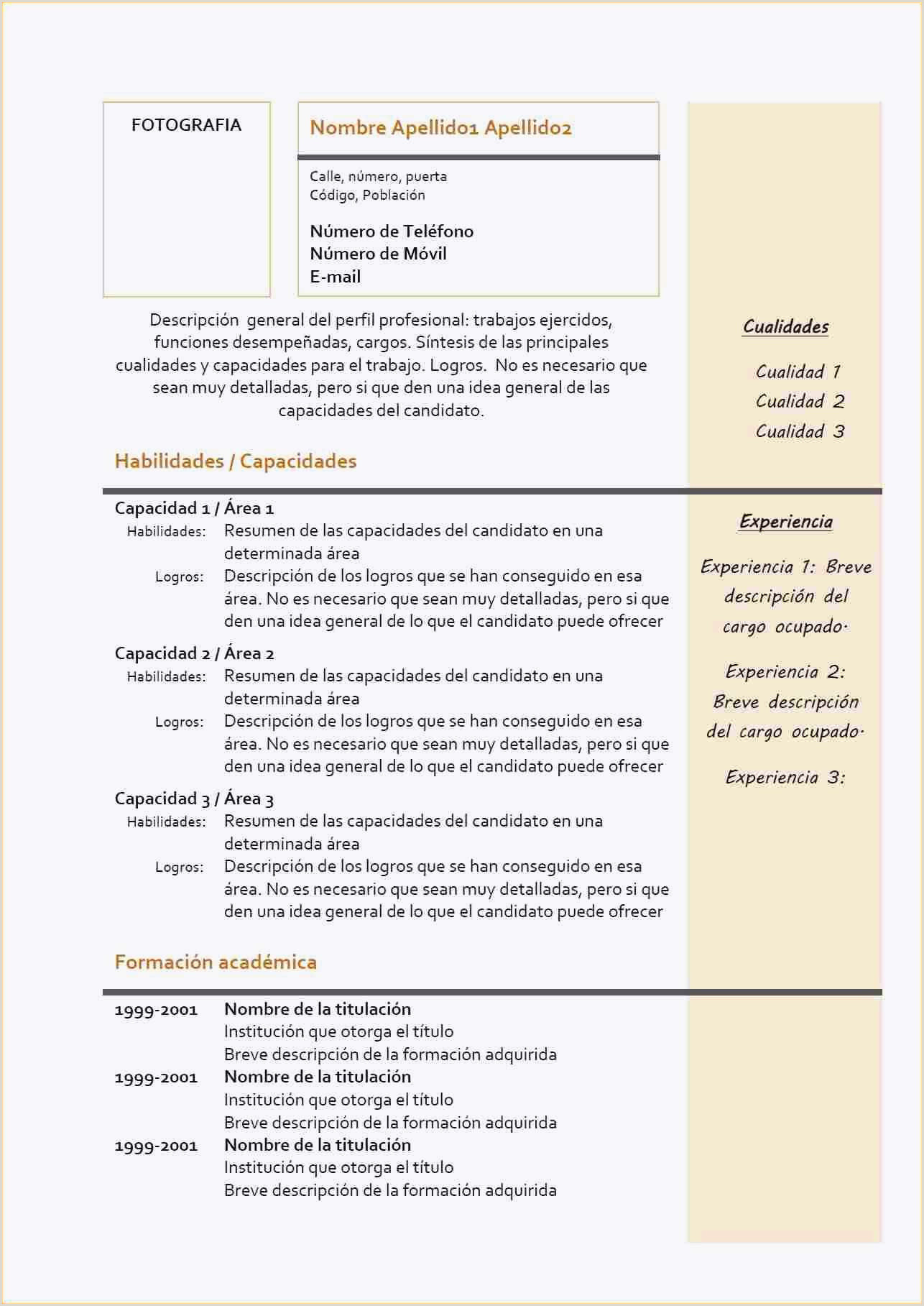 Exemple De Cv En Espagnol Cv En Espagnol Simple Lettre De Motivation Espagnol Exemple
