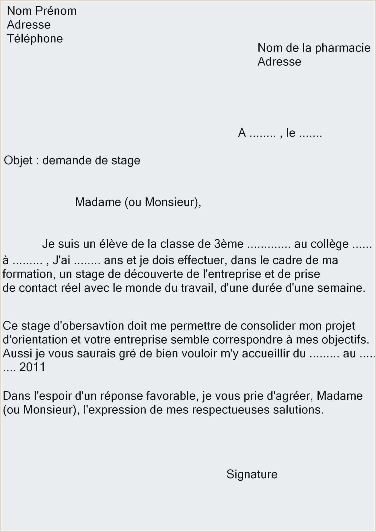 Exemple Cv 3eme Joli Impressionnant Lettre De Motivation