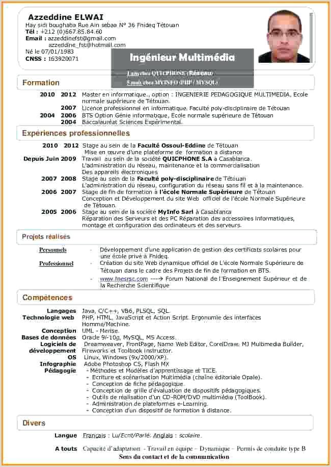 Exemple De Cv Enseignant Pdf 20 Cv Enseignant Primaire