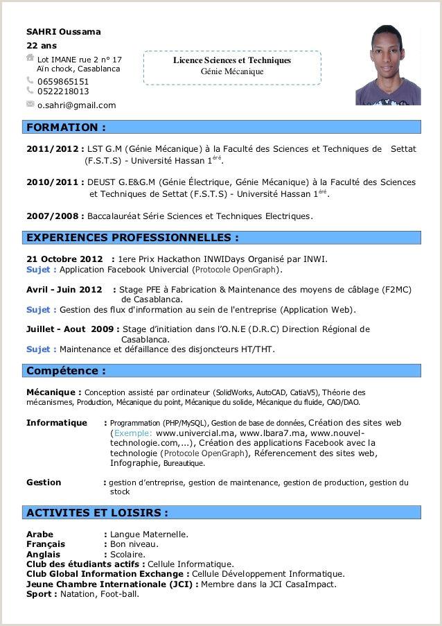 Exemple De Cv Francais Pour Etudiant Exemple Cv Francais Informatique Tre