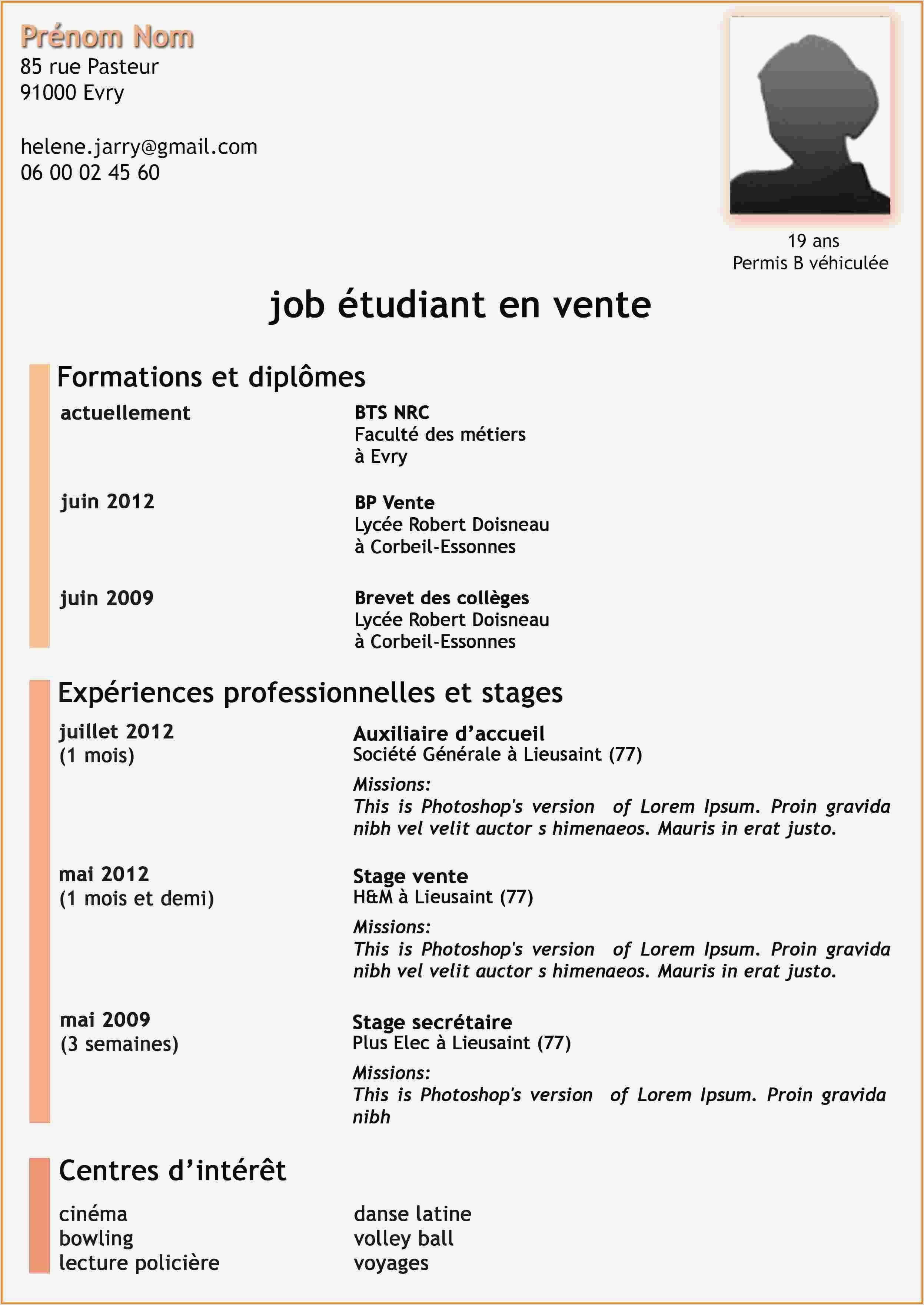 Exemple De Cv Francais Pour Etudiant Exemple De Cv Collegien Inspiré Modele Cv Pour Etudiant Ment