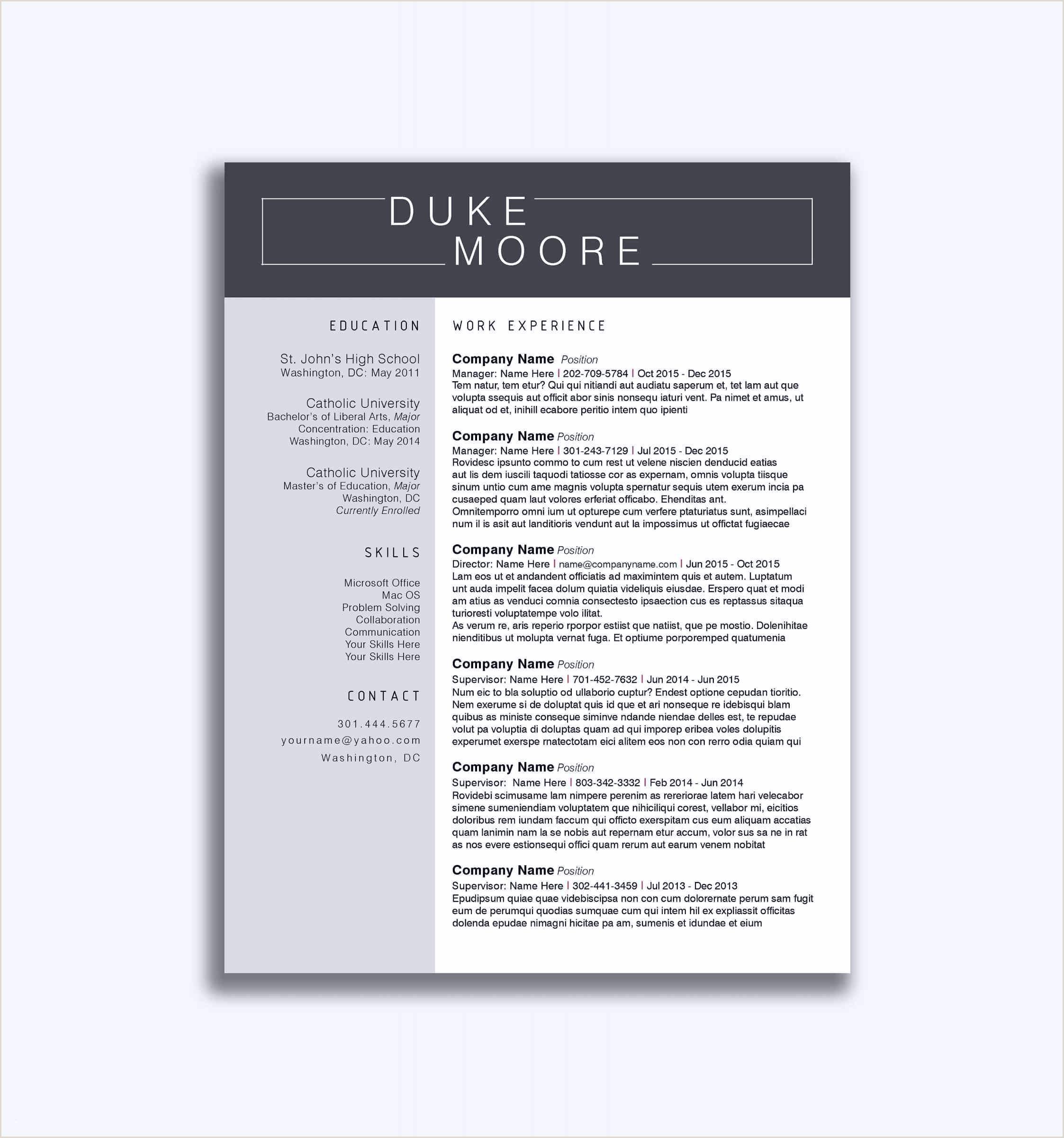 Exemple De Cv Gratuit Moderne Model Cv Moderne Libre Modele Cv Word Gratuit Moderne 2019