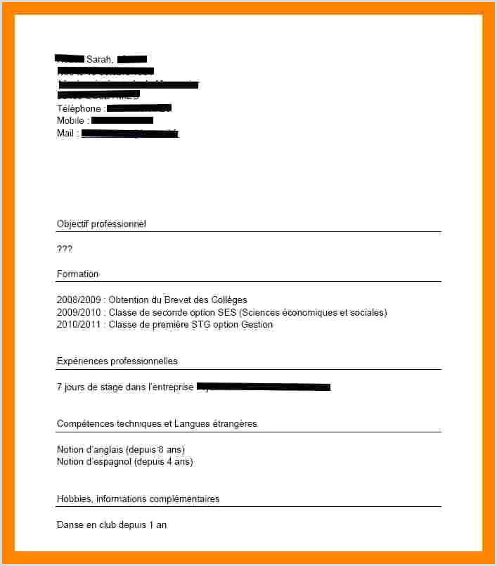 Cv Exemple Stage Unique Exemple De Cv Pour Stage Exemple