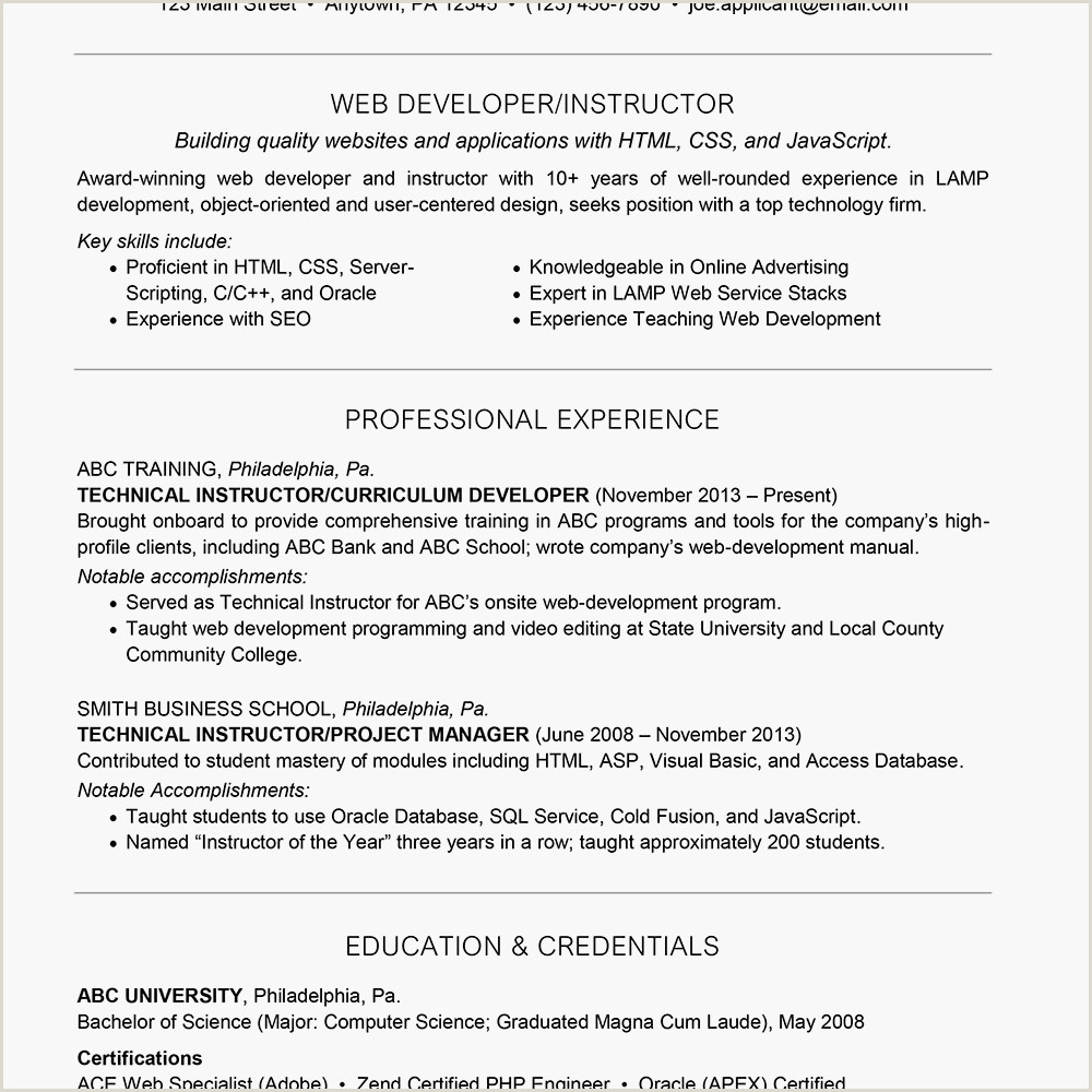 Exemple De Cv HTML Css Web Developer Resume with Summary Statement Example