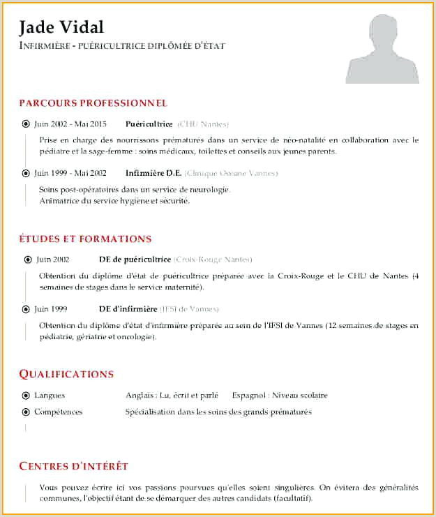 Cv Infirmi¨re Exemple