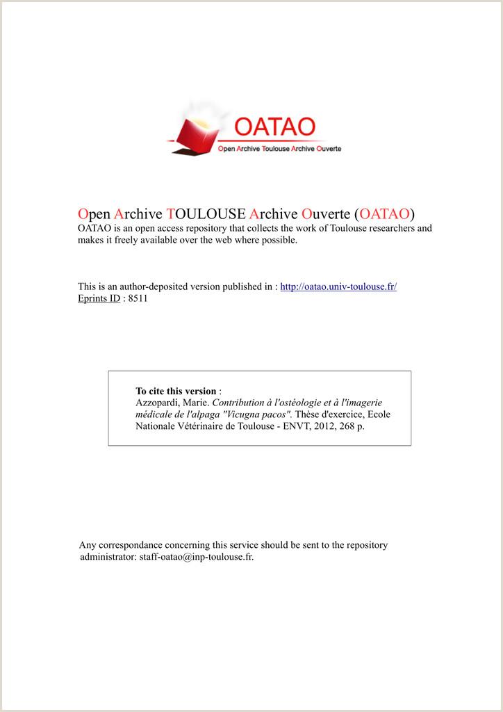Contribution  l ostéologie et  l imagerie médicale de l alpaga