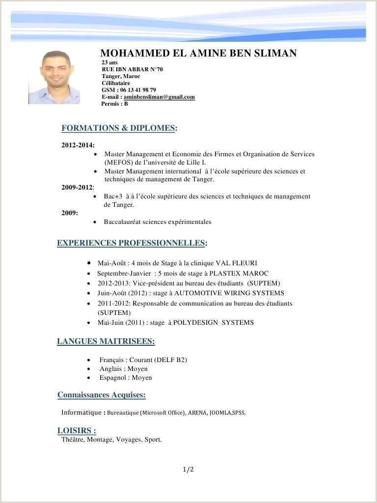 Exemple De Cv Niveau Bac Tunisie Exemple De Cv Niveau Bac Maroc élégant Modele Cv Etudiant