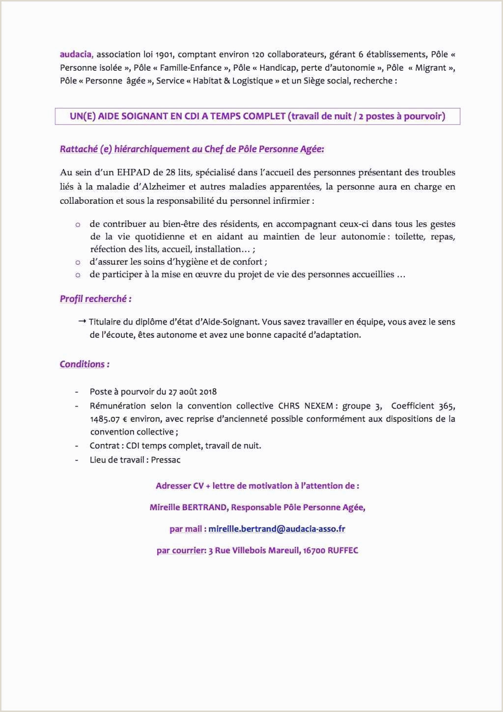 Exemple Lettre De Motivation Infirmier Exemple Cv Infirmiere