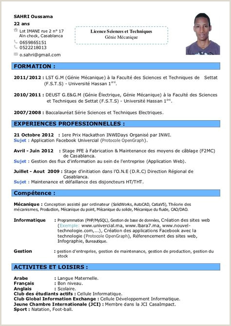 Exemple De Cv Pdf Maroc Pinterest