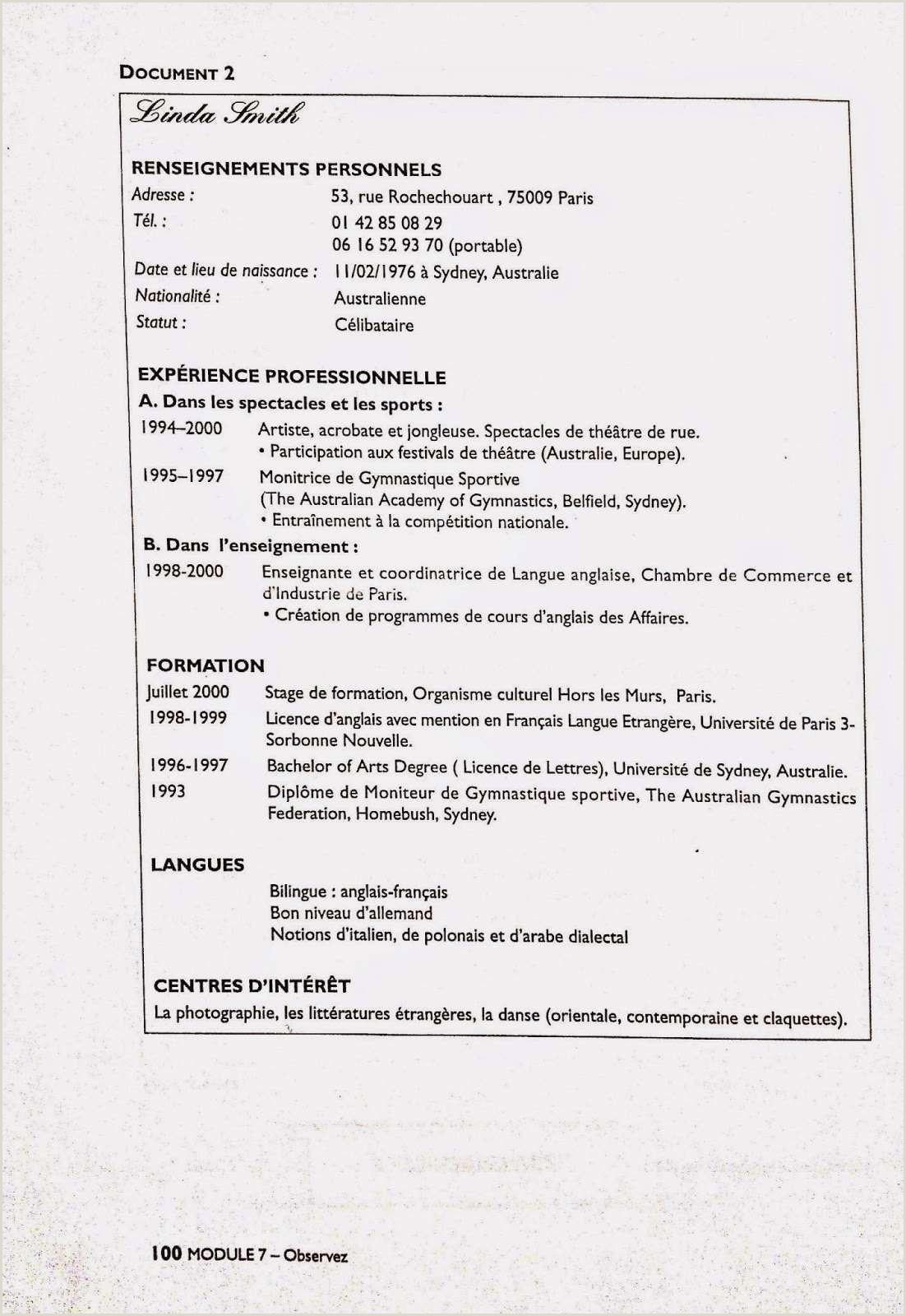 Exemple De Cv Prof De Français Nouvelle Exemple De Lettre De Motivation Pour Professeur De