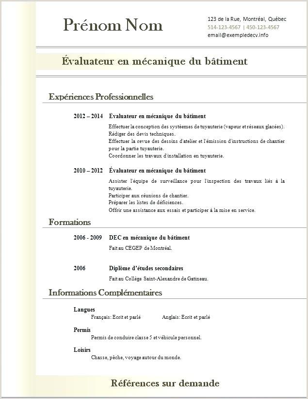 Exemple De Cv Quebecois Gratuit Modele Cv Restauration