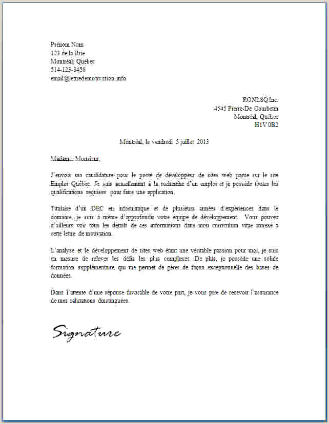 Exemple De Cv Quebecois Lettre De Motivation Els Unique Modele Lettre Condoleance