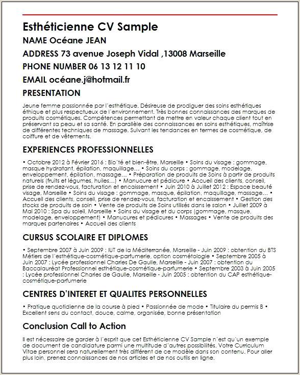 Bts Metier De La Coiffure Cv De Coiffeuse Exemples De Cv