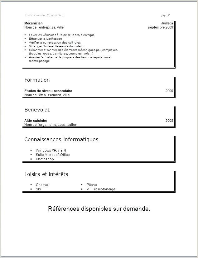 Exemple De Cv Simple Pdf Cv  Remplir Pdf Luxe Exemple De Cv Simple Pdf