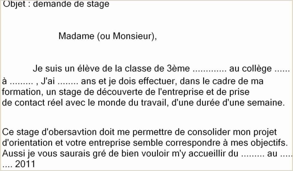Exemple Cv 3eme Unique Cv Pour Stage 3eme Lettre De