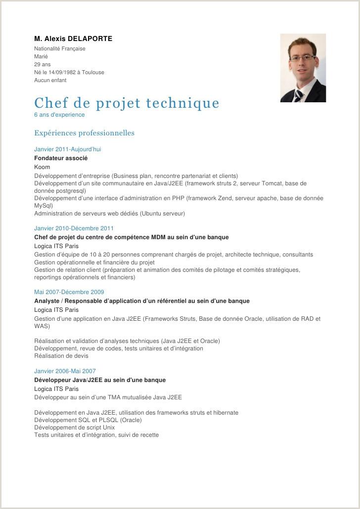 Exemple De Cv Tunisie Pdf Cv Chef De Projet Libre 13 Exemple Cv Chef De Projet