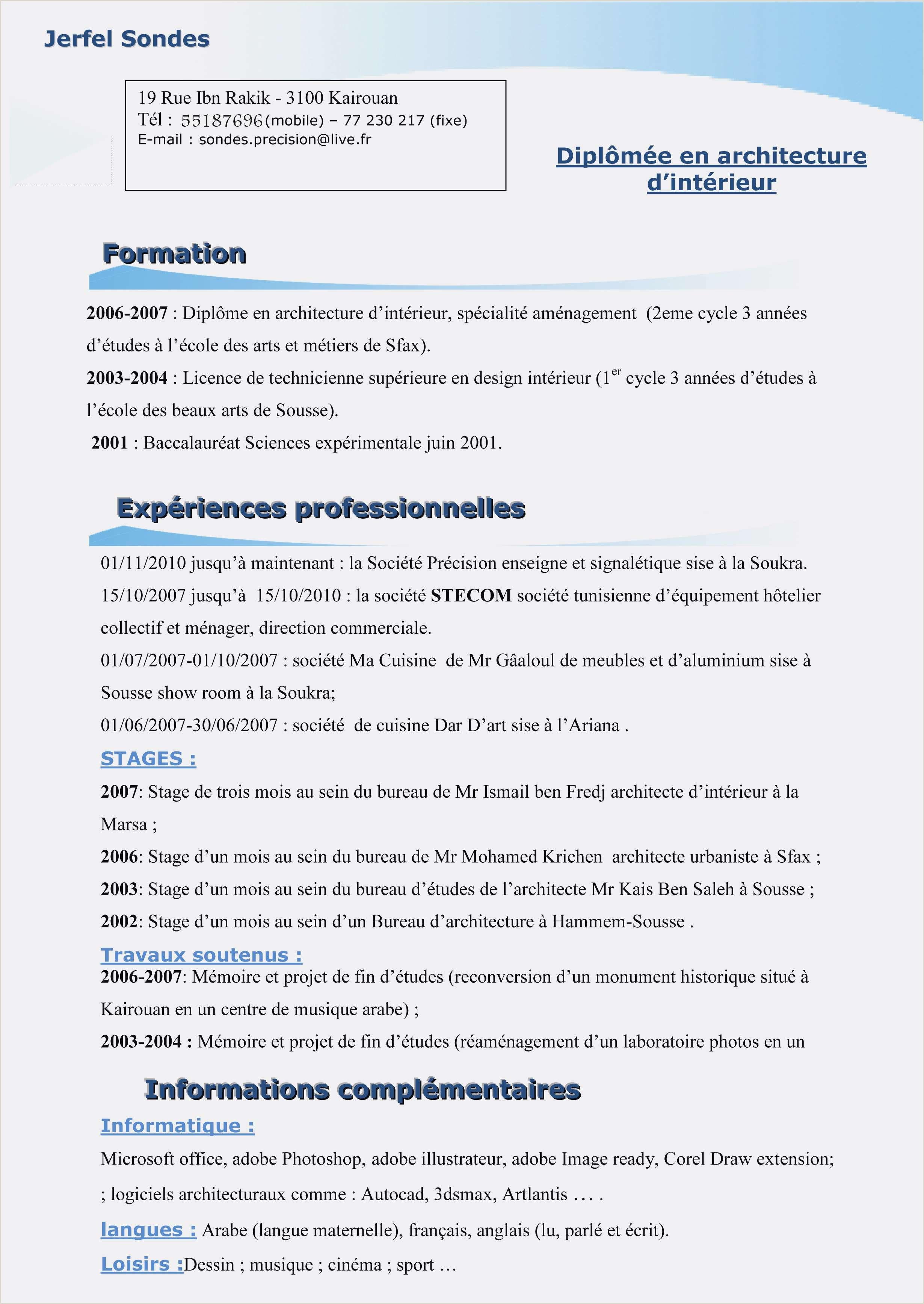 66 Beau Exemple De Cv Tunisie Graphique
