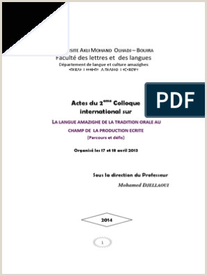 Exemple De Cv Udem Actes Du 2eme Colloque International Sur La Langue Amaziighe