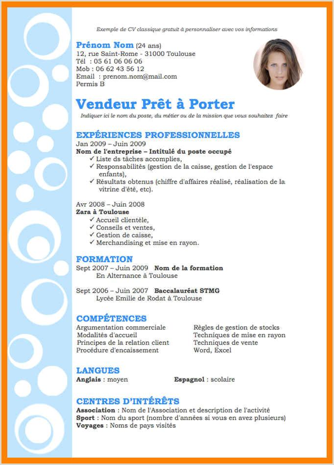 Exemple De Cv Vente Pret A Porter Exemple Cv Vendeuse Boulangerie