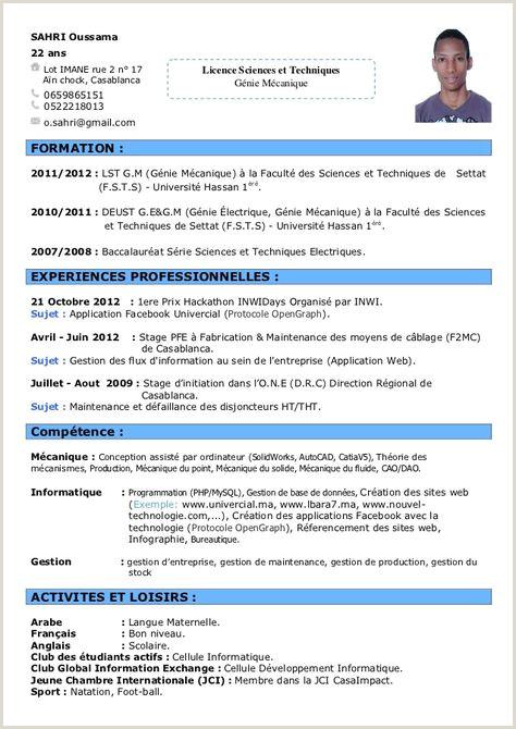 Exemple De Cv Vierge Exemple Cv Francais Informatique Tre