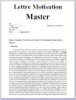 exemple lettre de motivation pour master maroc mod¨le