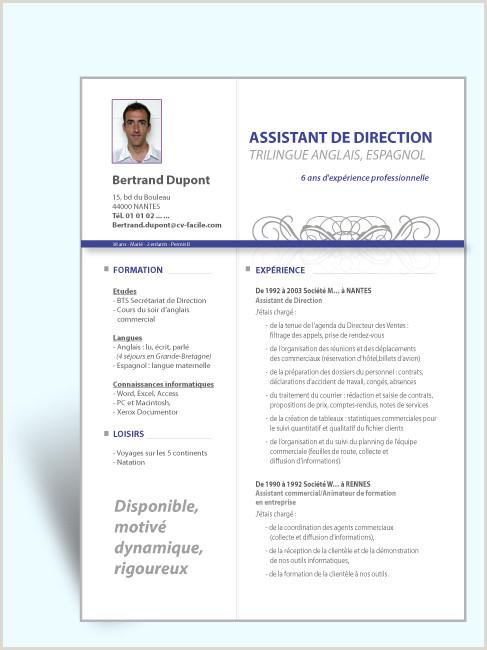 Mod¨le CV original Assistant de Direction Exemple CV original