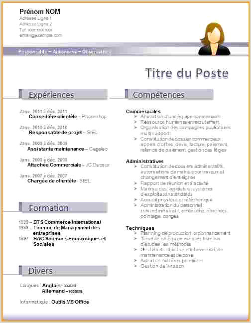 Mod¨le Cv Professionnel Simple 14 Cv Word Gratuit