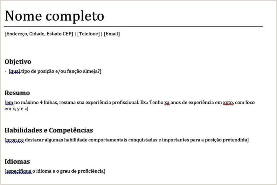 Exemplo De Curriculo Simples Objetivo 12 Modelos De Currculo Para Baixar E Preencher