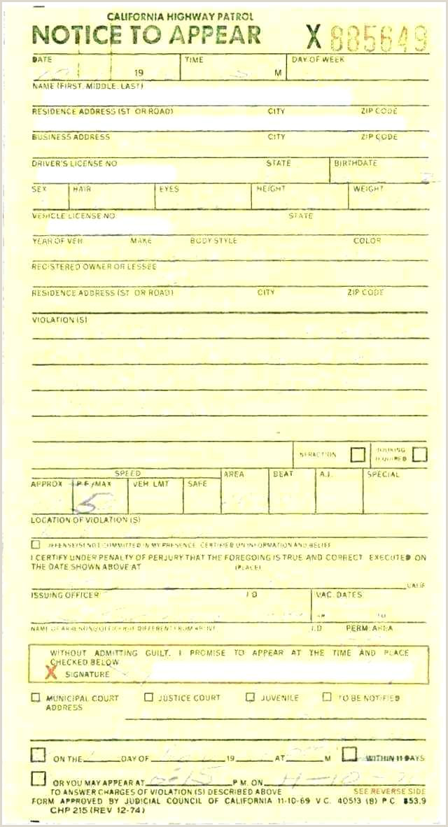 police ticket template