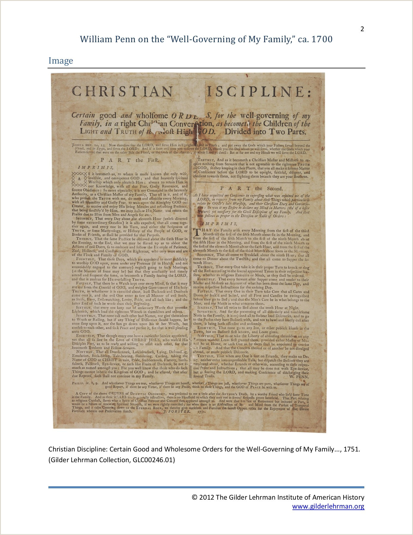 """William Penn on the """"Well Governing of My Family """" ca"""
