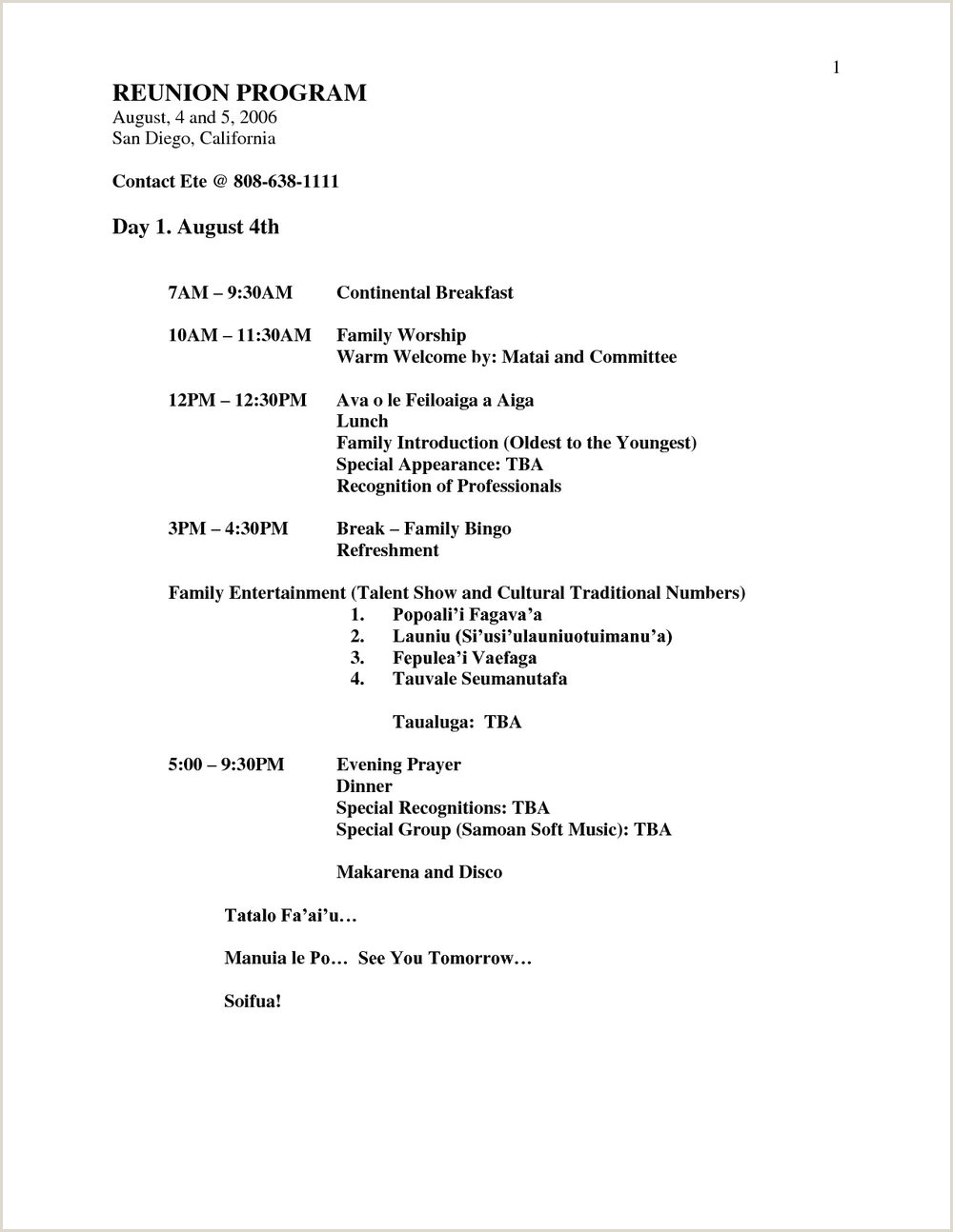 Family Reunion Banquet Program Samples Templates Njg0MDU