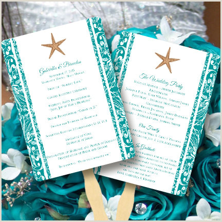 "Fan Wedding Programs Templates Fan Wedding Programs ""beach Starfish"" Jade"