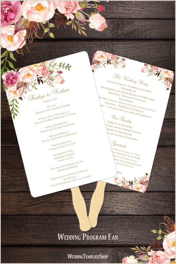 Fan Wedding Programs Templates Wedding Program Fan Romantic Blossoms Diy Ceremony Program