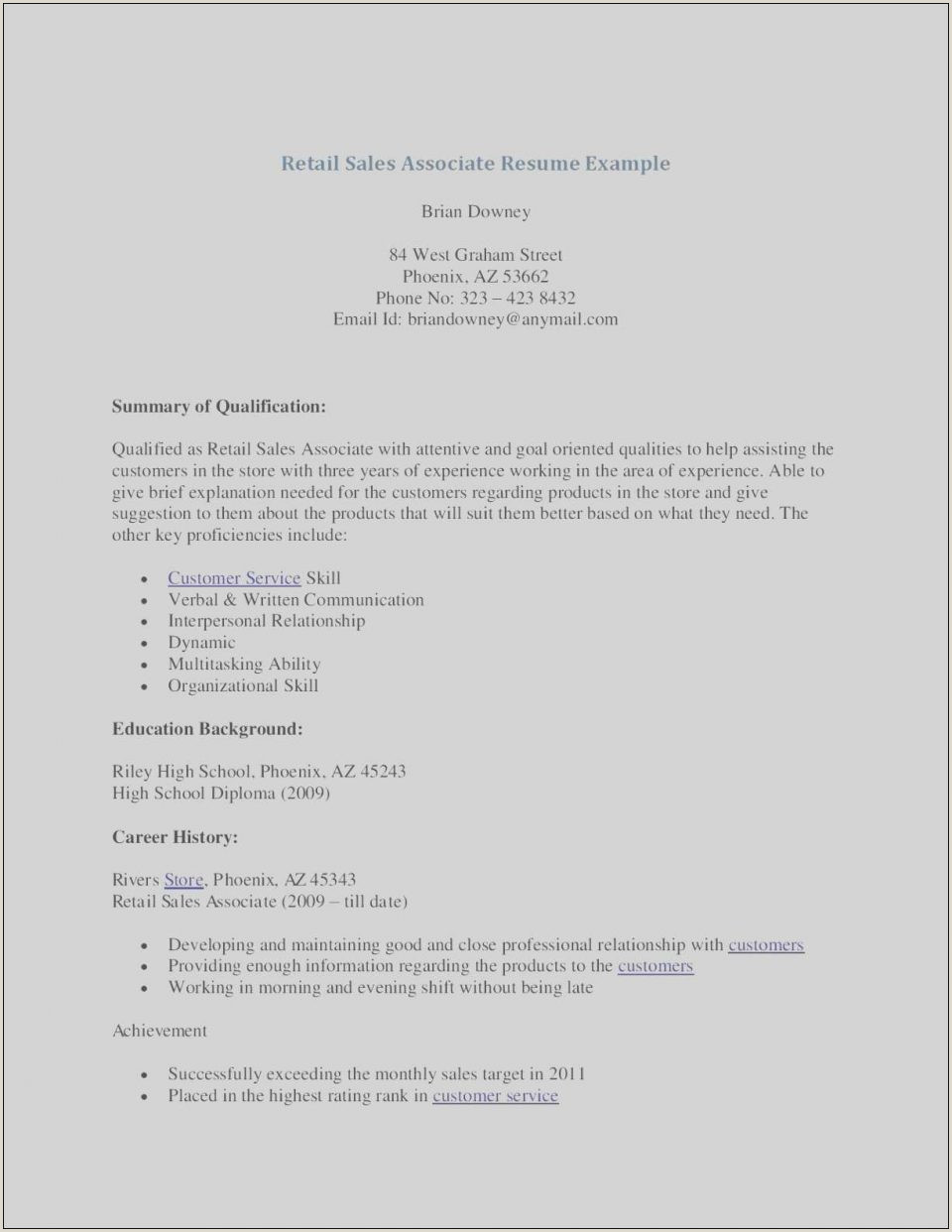 Create Retail Cv Format Template Free Download Store