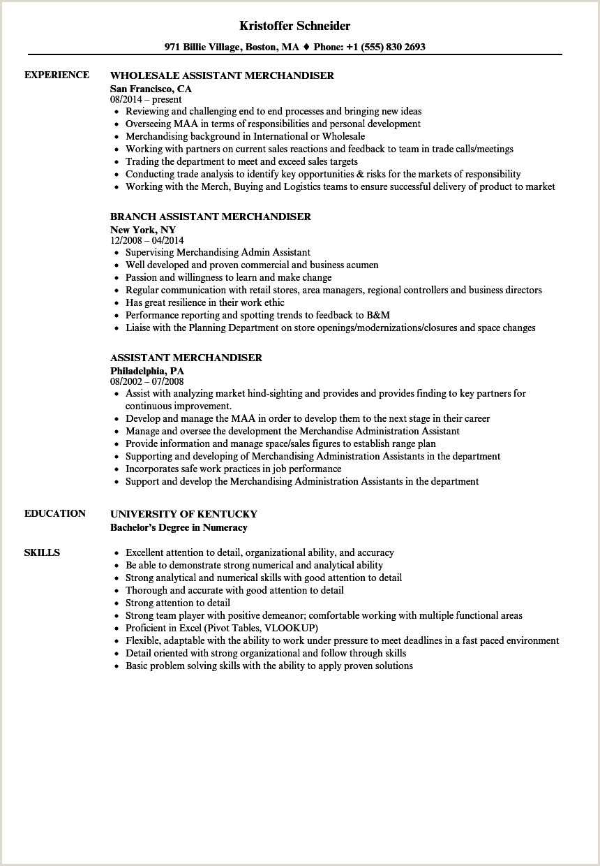 Fashion Merchandising Resume Examples assistant Merchandiser Resume Samples