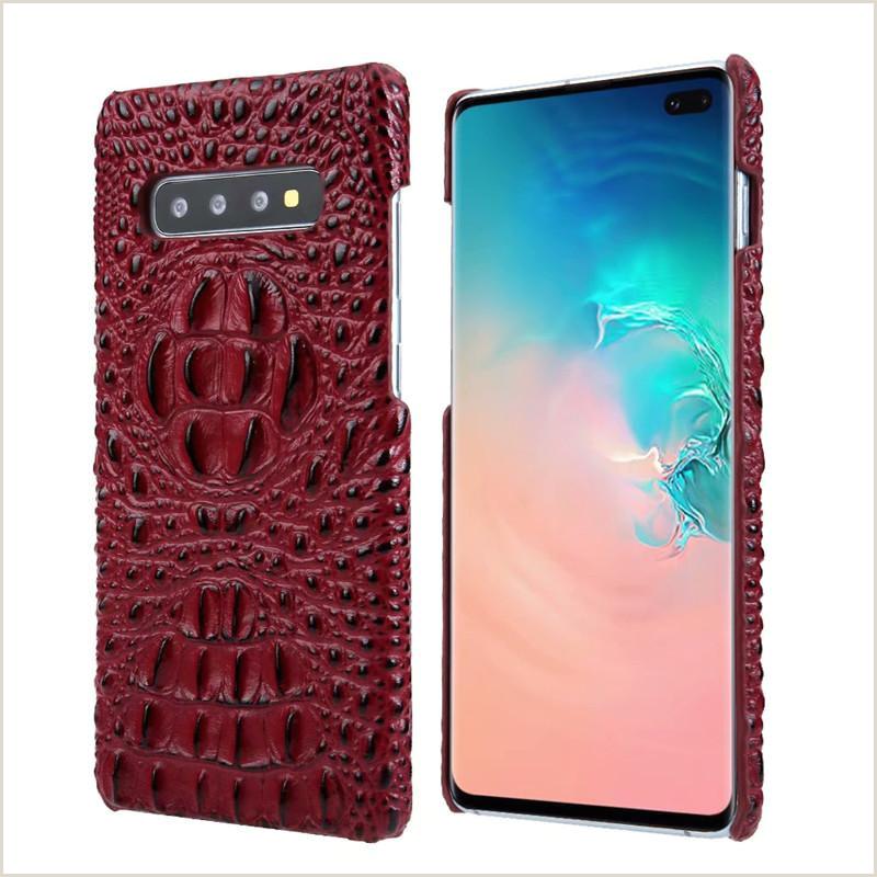 Pour Galaxy S10 et S9 S8 Note 9 designer de mode de luxe tªte de crocodile étui en cuir véritable pour iphone X XS Max XR 7 8 Plus Huawei Mate 20 Pro