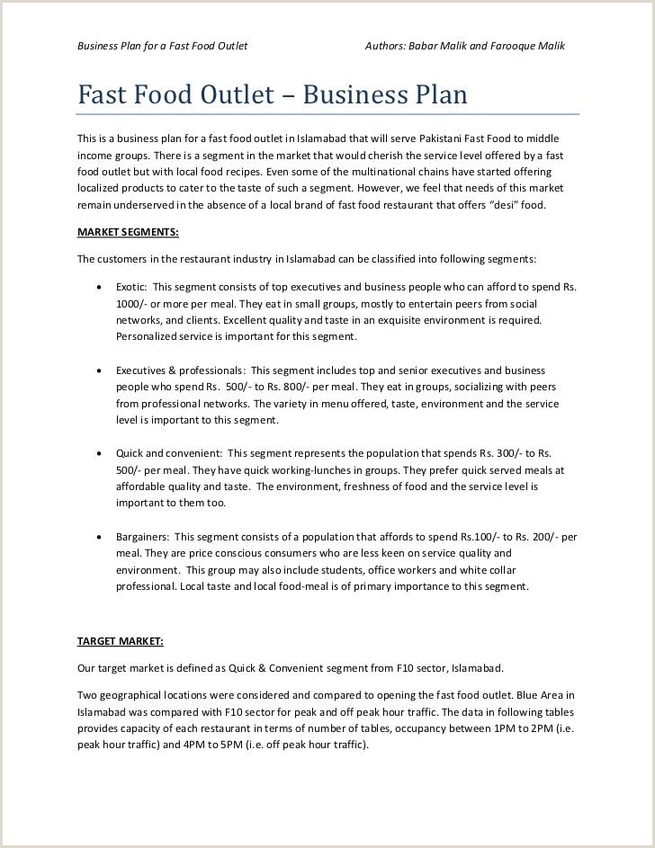 Fast Food Resume Objective Business Plan Of Fast Food Restaurant