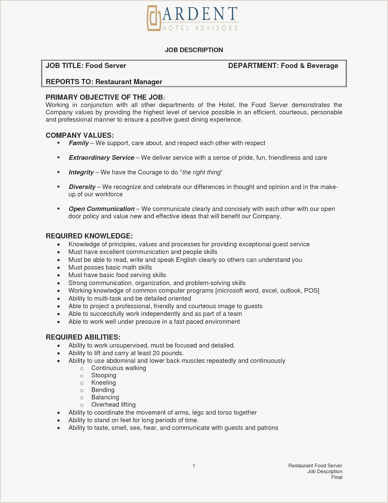 Fast Food Job Description for Resume Examples Fast Food